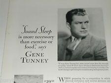 1929 Simmons Mattress ad, Gene Tunney, Boxing Champion