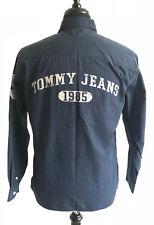 VTG 90s Tommy Hilfiger Jeans Blue Denim Numbered Button Front Shirt Men's Medium