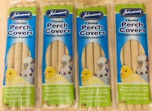 JOHNSON'S VETERINARY 4 SANDED PERCH COVERS X4 PACKS BUDGIES, CANARIES GOOD GRIP