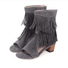Women's Sandals Fringe Suede Open Toe Block Med Heels Shoes Hollow Girls Fashion