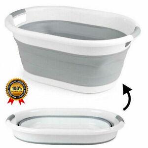 Large Plastic Laundry Basket Folding Washing Clothes Storage Bin Hamper Oval 22L