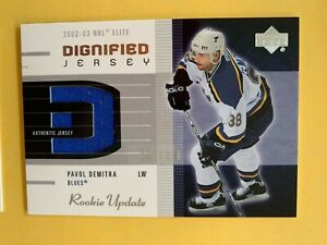 2003 Upper Deck Hockey Rookie Update Dignified Jersey Pavol Demitra Blues