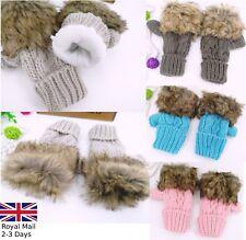Women Ladies Insulated Fingerless Fur Winter Warm Knitted Wool Mittens Gloves