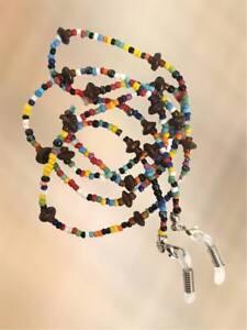 NEW Mens Unisex Multi Coloured & Brown Stone Eye Glasses Strap Holder