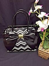 Betsey Johnson Large Black White CHEVRON Tote Handbag Oversize Bow Satchel Purse