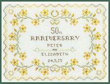 Golden Wedding Anniversary Sampler - Cross Stitch Kit on 14 aida - COLOUR chart