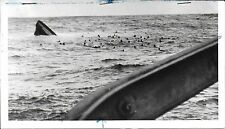 "1943 News Photo of Italian U-Boat ""Asteria"" Sinking – Crew Swims to Brit Ship"