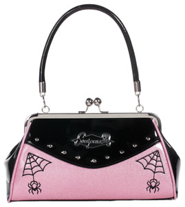 Sourpuss Webbed Widow Purse Black/Pink Pastel Goth Spooky Horror Handbag
