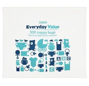 300 Disposable Nappy Bags TESCO Fragranced Baby Diaper Hygienic Sacks Tie Handle
