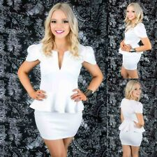 Sz 10 12 White Peplum Cap Sleeve Sexy Formal Gown Party Wear Cocktail Club Dress