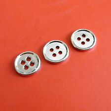 15 Plain Metal Brass Small 4 Holes Shirt Sew On Button Shiny Silver 11.5mm S217