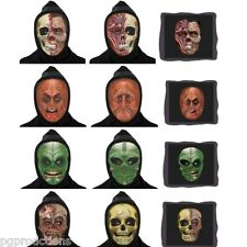 4 Set Lenticular Masks 3D Flat Face Changes Halloween Black Hood Skull Monster