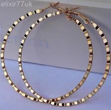 NUOVO paio di grandi oro placcato Hoop Orecchini Cerchio Grandi Hoops Fab Donna regalo UK