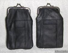 New Genuine Leather Soft Cigarette Case Holds 120's - BLACK