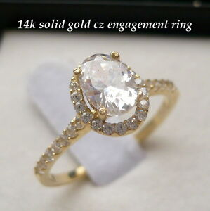 14K SOLID GOLD SOLITAIRE LADIES CZ ENGAGEMENT PROMISE RING sz 7