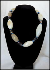 Antique Vintage Handmade Trade Bead Necklace w White Agate