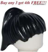 ☀️NEW Lego Minifig Hair Female Girl Black Short with Ponytail Head Gear friends