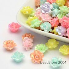 50x Mixed AB Color Plated Opaque Acrylic Rose Flower Beads Craft Beading 13x8mm