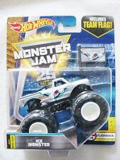 """MONSTER JAM """" ICE MONSTER FLASHBACK TEAM FLAG """" HOT WHEEL DIE CAST TRUCK CAR"""