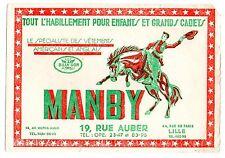 Buvard publicitaire vêtement Manby Billy son cowboy rodéo