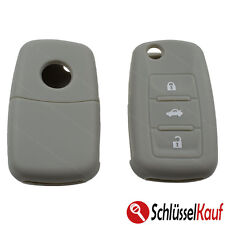 Silikon Schutzhülle Grau 3 Tasten Autoschlüssel Klappschlüssel VW Seat Skoda NEU