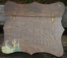 VTG Handmade Wood Writing Slope Lap Desk Stationary Box Road Runner Decoupage NM