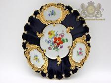 Meissen Prunkschale in Kobaltblau mit Reicher Gold und Blumenmalerei