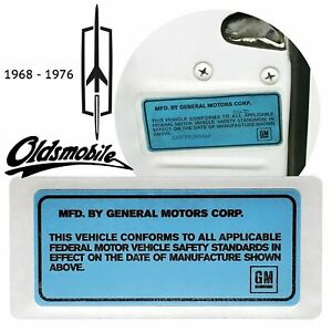 1968-76 GM Blue Door Jamb ID Number Decal OEM For Oldsmobile Cars Cutlass 442
