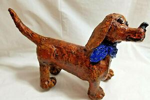 """Handcrafted Puppy Dog Dachshund Figurine 7"""" Brown Sculpture Bren"""