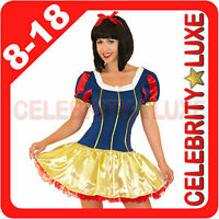 New Ladies Snow White Fairtale Short Fancy Dress Up Costume Storybook Princess