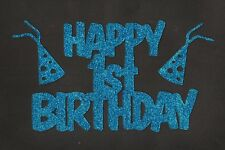 Happy 1st Birthday with party hats - bright blue glitter cardstock