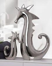 76792 Seepferdchen aus Keramik · silber · glänzend 11 x 5 x 18 cm