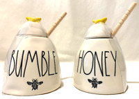 Rae Dunn HONEY & BUMBLE POT with Yellow Bee & Wooden Dipping Stick New