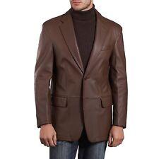Brand Men Genuine Lambskin Premium Leather Blazer Coat Jacket Brown TWO BUTTON