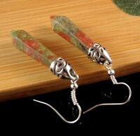 Unakite Natural Gemstone Hexagonal Point Dangle Fashion Earrings #B316