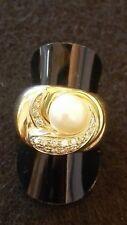 anello donna oro giallo e bianco con brillanti e perla tutto 750