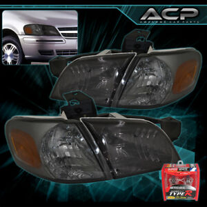 For 1997-2005 Venture Silhouette 4 Pieces Smoked Head Lamps Amber Corners Xenon