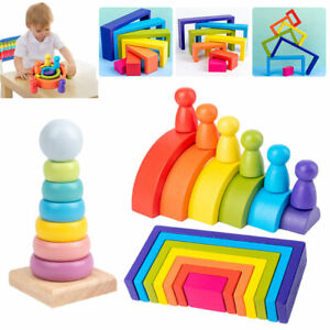Wooden Rainbow Building Stacking Blocks Baby Toddler Educational Montessori Toys