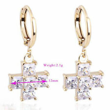 Women Jewelry Hot Yellow Gold FIlled Lucky Cross White Gemstone Dangle Earrings