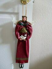 "Cynthia Madrid Design 17 1/4"" Resin Angel Holding Dove and Raffia Ribbon Hanger"