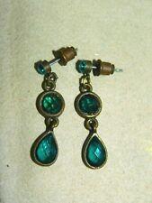 Aqua Teal Blue Green Rhinestone dangle pierced Earrings 2d 107