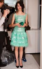 PF'13 ICONIC DIVINE GLAMOROUS CHIC Oscar De La Renta sequin silk sea foam dress