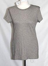 Vince - M/L - NWT - Beige & White Striped - S/S Pima Cotton/Modal Knit Top