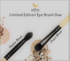 New Inika Limited Edition Eye Brush Duo Set Vegan Bamboo Stick  without box
