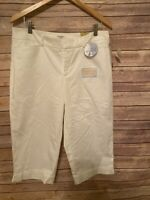 NWT Dockers Capris Mid Rise Curvy Fit Truly Slimming White  Sz 14 Petite ($40)