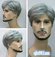 Fashion Gray Mixed Short Curly old Men men's Hair wigs +wig cap