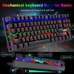 True Mechanical Wired Gaming Keyboard Rainbow Backlit Keypad For PC Xbox one PS4