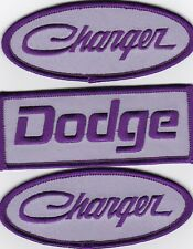3 DODGE CHARGER LAVENDER PURPLE SEW/IRON ON PATCH BADGE EMBROIDERED HEMI MOPAR
