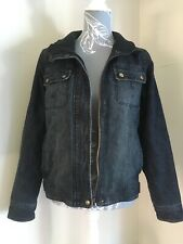 Ladies Dark Blue Thick Lined Winter Denim Jacket Size 14 By New Look
