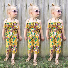 One-piece Kids Baby Girls Backless Romper Overall Jumpsuit Playsuit Clothes 2-7Y
